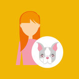 Character girl pet french bulldog graphic Royalty Free Stock Photography