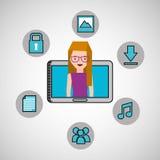 Character girl technology social media icon Royalty Free Stock Photo