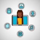 Character girl technology social media icon Stock Image