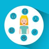 Character girl technology social media icon Stock Photography