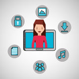 Character girl technology social media icon Stock Images