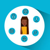 Character girl technology social media icon Stock Photos