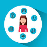 Character girl technology social media icon Royalty Free Stock Photography