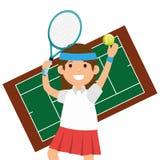 Character girl tennis racket court Stock Images