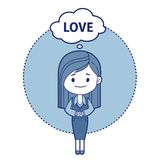 Character girl think about love Royalty Free Stock Photography