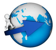 Character Globe Indicates Global Earth And Man 3d Rendering Stock Images
