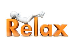 Character on glossy and shinny word relax. Character and word relax render Stock Photography