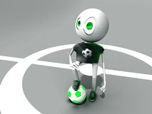Character and green ball. The character on a football ground with a ball Stock Photography