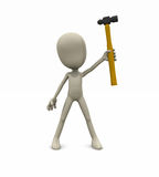 Character with hammer. 3d illustration of a cartoon character holding up a hammer Stock Images