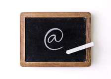 Character. Handwritten with chalk on a blackboard stock photo
