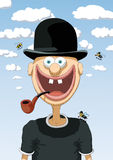 Character happy with bowler Royalty Free Stock Image