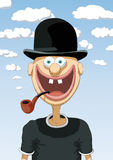 Character happy with bowler Royalty Free Stock Images