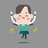 Character happy office lady theme elements Stock Image