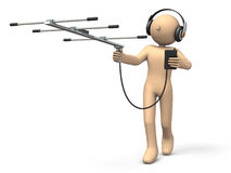 Character having an antenna is exploring the goal. Stock Photography