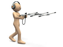 Character having an antenna is exploring the goal. 3D illustration Stock Image