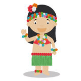 Character from Hawaii dressed in the traditional way Royalty Free Stock Photo