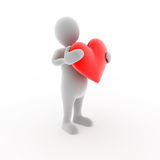 Character with heart. 3D character holding a heart Stock Image