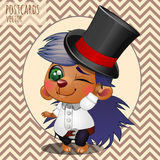 Character hedgehog boy in hat, cartoon series Stock Photography