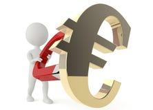 Character hold a horseshoe magnet / euro symbol. 3d humanoid character hold a horseshoe magnet and a euro symbol Stock Images