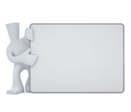 Character hold white board. Cartoon character hold big white board for announcements Stock Illustration