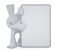 Character hold white mini board. Cartoon character hold mini white board for announcements Stock Illustration