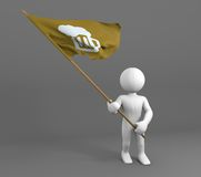 Character holding beer symbol flag Stock Photos