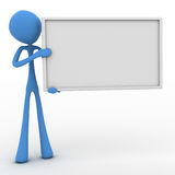 Character holding blank sign Stock Photos