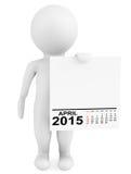 Character holding calendar April 2015 Stock Photo