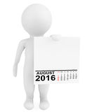 Character holding calendar August 2016. 3d Rendering. Character holding calendar August 2016 on a white background. 3d Rendering Stock Image
