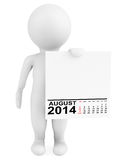 Character holding calendar August 2014. On a white background Royalty Free Stock Image