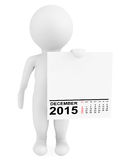 Character holding calendar December 2015. On a white background Stock Image