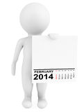 Character holding calendar February 2014 Stock Photos