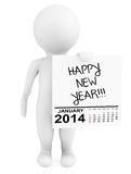 Character holding calendar January 2014 with Happy New Year Sign. On a white background stock illustration