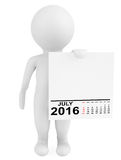 Character holding calendar July 2016. 3d Rendering. Character holding calendar July 2016 on a white background. 3d Rendering Stock Photos