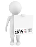 Character holding calendar July 2013 Stock Image