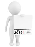 Character holding calendar July 2015. On a white background Royalty Free Stock Photography