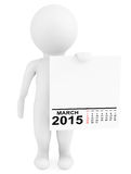 Character holding calendar March 2015. On a white background Stock Photo