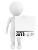 Character holding calendar March 2016. On a white background stock illustration