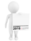 Character holding calendar November 2016. 3d Rendering. Character holding calendar November 2016 on a white background. 3d Rendering Stock Images