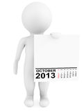 Character holding calendar October 2013 Stock Images