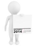 Character holding calendar September 2014 Stock Photos