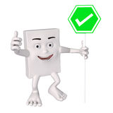 Character holding green sign with white tick Royalty Free Stock Images
