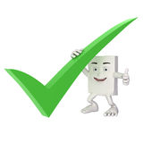 Character holding large green tick Royalty Free Stock Photography