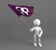 Character holding lesbians symbol flag Royalty Free Stock Photos