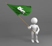 Character holding money symbol flag Stock Images
