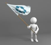 Character holding recycle symbol flag Stock Photography