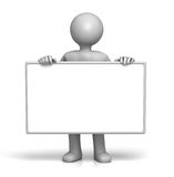 Character holding sign board Front. 3D character holding up empty signboard (with Clipping Path Stock Photos