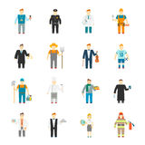 Character Icon Flat. Profession set with builder worker cook teacher doctor isolated vector illustration Royalty Free Stock Photos