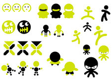 Character icons. A set of character icons, with various styles of expressions and poses in green and black Royalty Free Stock Photo