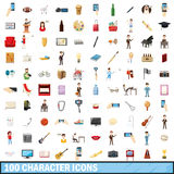 100 character icons set, cartoon style Royalty Free Stock Photo
